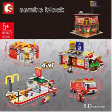 Sembo SD6901 4in1 Mcdonaldd Streetscape - USB lighting |Modular