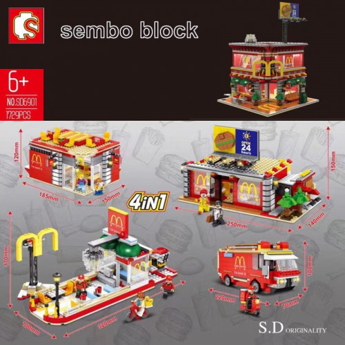 Sembo SD6901 4in1 Mcdonaldd Streetscape - USB lighting |Modular