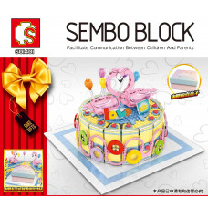 SEMBO 601401 The Bowing Flamingo On top of the Birthday Cake Wow |CRE
