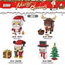 Xinyu Xmas Brickheadz, Satan Claus, Christmas Elk, Christmas Mickey Mouse, Christmas Snowman