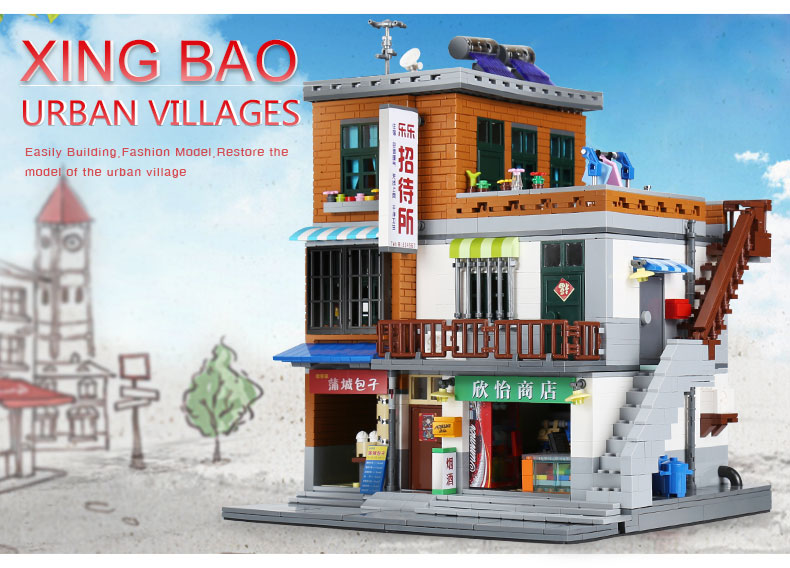 XingBao-01013-Genuine-Creative-MOC-City-Series-The-Urban-Village-Set-Building-Blocks-Bricks-Educational-legoing-Toys-Model-Gift-32831853380