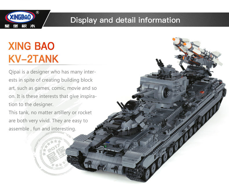 XingBao-06006-3663Pcs-Creative-MOC-Military-Series-The-KV-2-Tank-Set-children-Educational-Building-Blocks-Bricks-Toys-Model-Gif-32859448281